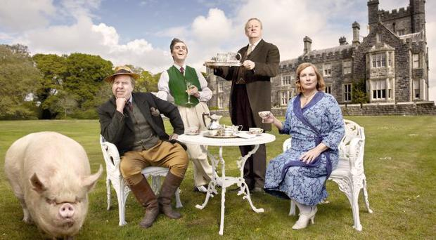 Lord Clarence Emsworth (Timothy Spall), Freddie (Jack Farthing), Beech (Mark Williams) and Connie (Jennifer Saunders) in Blandings