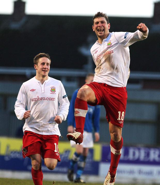 Matt Tipton celebrates his first goal for Linfield after a series of injury problems