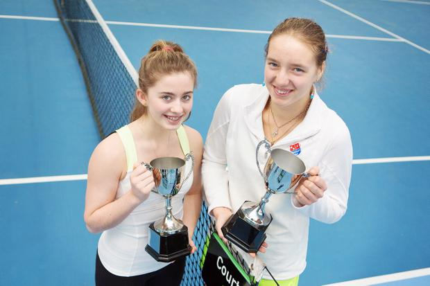 Girls U16 Singles Winner Laura Reid from Belfast Boat Club & Girls and U18 Singles Winner Karola Bejenaru Windsor T.C.