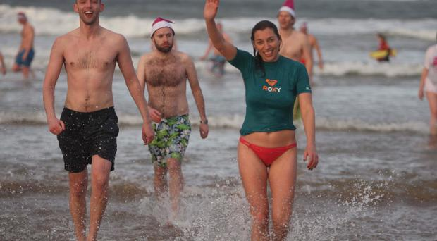 East Strand Portrush was the venue for the Clic Sargent Cancer charity dip on News Years day.