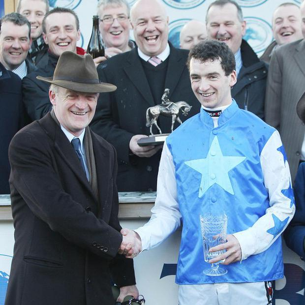 Willie Mullins congratulates son Patrick after Zuzka carried him into the record books at Leopardstown