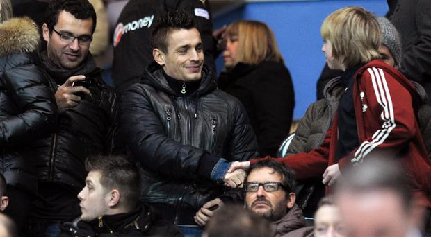 Mathieu Debuchy in the stands during the Barclays Premier League match at St James' Park, Newcastle