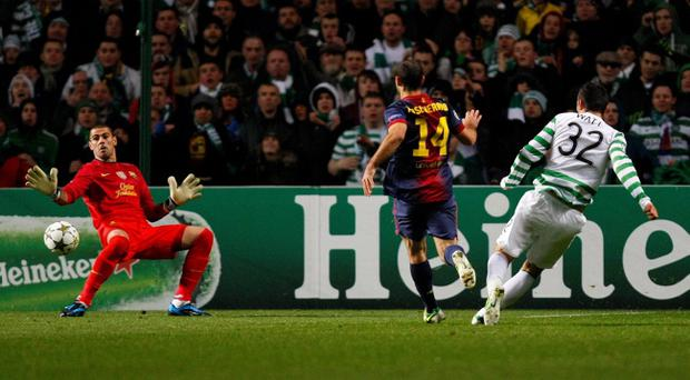 Tony Watt scores during Celtic's victory over Barcelona, which was the biggest event in Scottish football in 2012