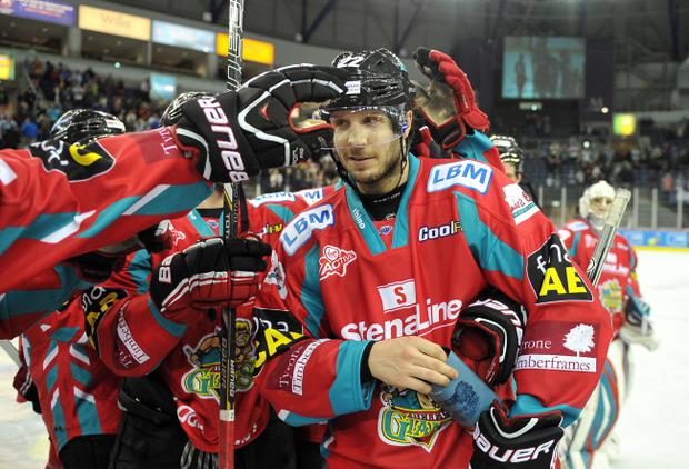 Kevin Saurette scored twice in the Belfast Giants win over Braehead Clan