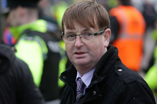 Willie Frazer at loyalist protests near Belfast city hall. Picture date: Saturday January 5, 2013