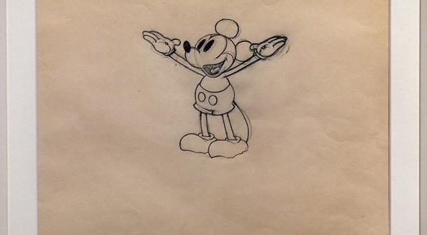 A never before seen original artwork pencil drawing from Walt Disney's Mickey Mouse