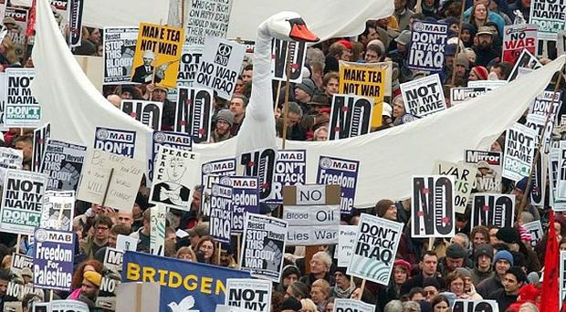 Anti-war demonstrators making their way down Piccadilly in central London in 2003