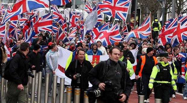 Loyalist protesters on their way to Belfast City Hall