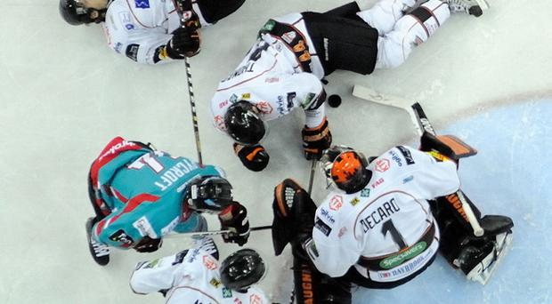 5/1/13: Daymen Rycroft of the Belfast Giants has is shot saved by the Sheffield Steelers in the during the Elite League game which Sheffield won 4-1 in Belfast. Picture: Michael Cooper