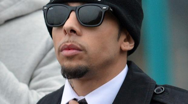 N-Dubz rapper Dappy, real name Dino Costas Contostavlos, arrives at Guildford Crown Court