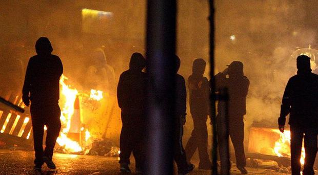 Loyalists set up burning barricades on Monday night on Newtownards Road, Belfast