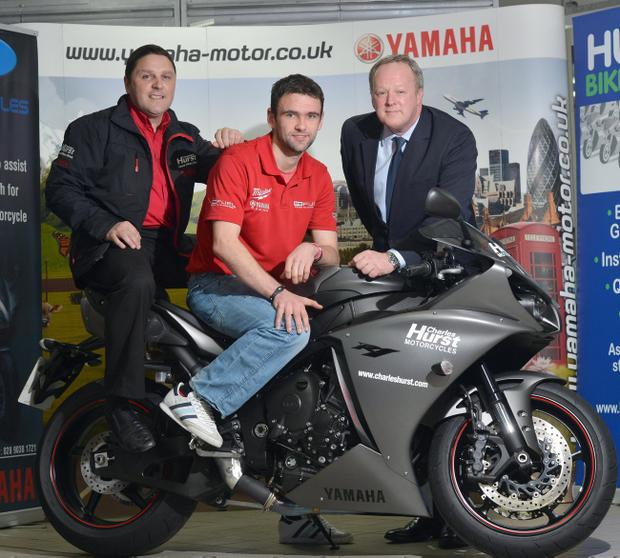 William Dunlop, David White (Charles Hurst) and Peter Gordon (Charles Hurst Marketing Director) launch the Enkalon Irish Motorcyclist of the Year Hall of Fame award