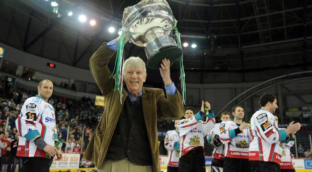 Jim Gillespie, seen by many as the man who saved the Giants, celebrates last season's league triumph