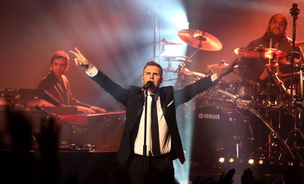Gary Barlow performing in the Waterfront Hall, Belfast.