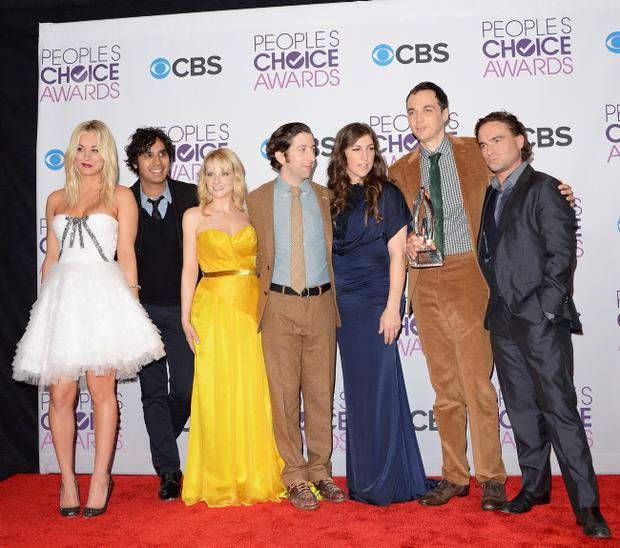Actors (L-R) Kaley Cuoco, Kunal Nayyar, Melissa Rauch, Simon Helberg, Mayim Bialik, Jim Parsons, and Johnny Galecki of The Big Bang Theory