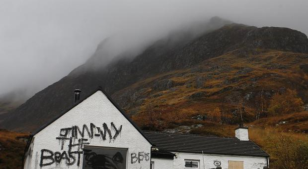 Jimmy Savile's cottage in Glencoe, Scotland, was defaced after allegations of child sex abuse against him came to light