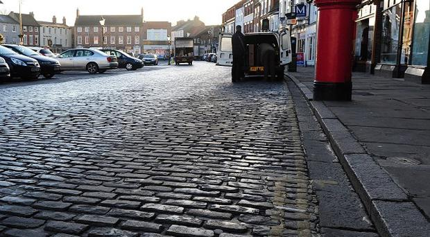The historic cobbles in Saturday Market, Beverley, which are due to be removed