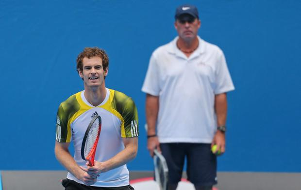 MELBOURNE, AUSTRALIA - JANUARY 09: Andy Murray of Great Britain is watched by his coach Ivan Lendl during a practice session ahead of the 2013 Australian Open at Melbourne Park on January 9, 2013 in Melbourne, Australia. (Photo by Scott Barbour/Getty Images)