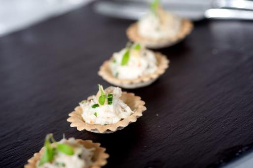 Crab, spring onion and ginger croustades