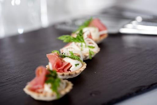 Croustades of serrano ham with apple and celeriac remoulade