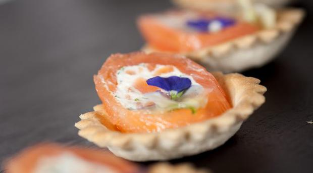 Croustades of smoked salmon roulade