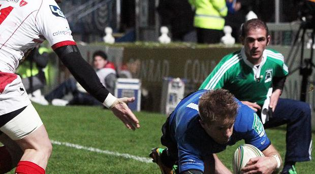 Luke Fitzgerald goes over for one of Leinster's five tries