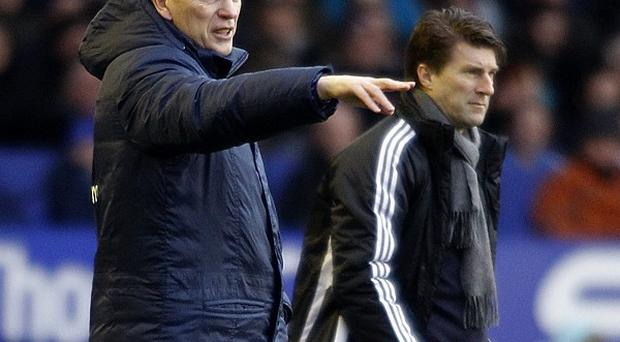 Michael Laudrup, right, and Everton boss David Moyes saw their teams draw a blank at Goodison