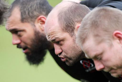 Ulster's front row of (from left), John Afoa, Rory Best and Tom Court