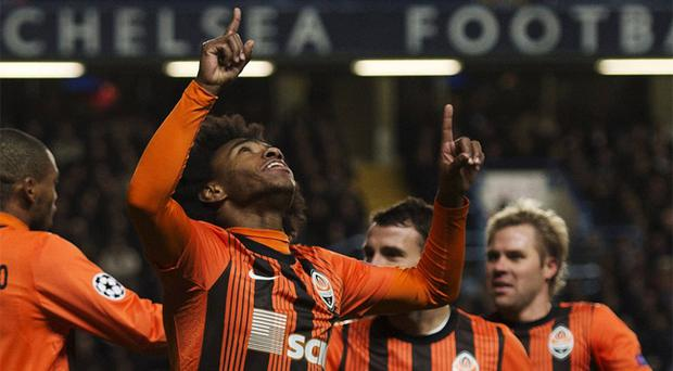 Willian celebrates scoring against Chelsea earlier this season