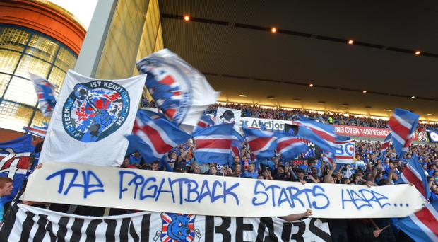 Rangers fans show their passion at Ibrox