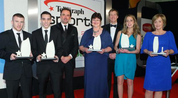 Paddy Barnes, Michael Conlan, Alan Campbell's mum Jenny, Richard and Peter Chambers' sister Rebekah and mum Gillian, with hockey Olympic gold medallists Stephen Martin and Jimmy Kirkwood