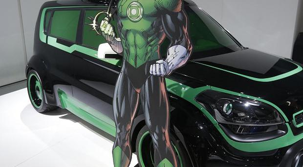 The Green Lantern-wrapped Kia Soul on display at the North American International Auto Show in Detroit (AP/Carlos Osorio)