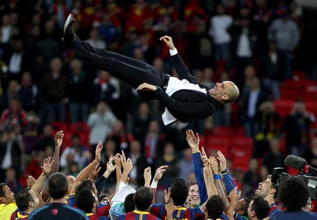 Pep Guardiola enjoys another moment of success at Barcelona