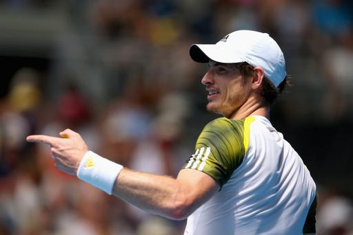 MELBOURNE, AUSTRALIA - JANUARY 17: Andy Murray Great Britain reacts after a point in his second round match against Joao Sousa of Portugal during day four of the 2013 Australian Open at Melbourne Park on January 17, 2013 in Melbourne, Australia. (Photo by Scott Barbour/Getty Images)