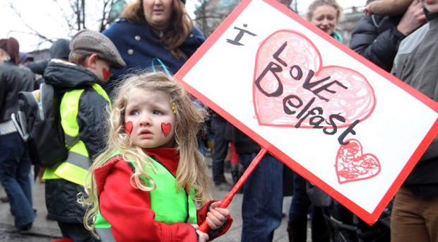 Thousands converge on Belfast city centre for a peace rall