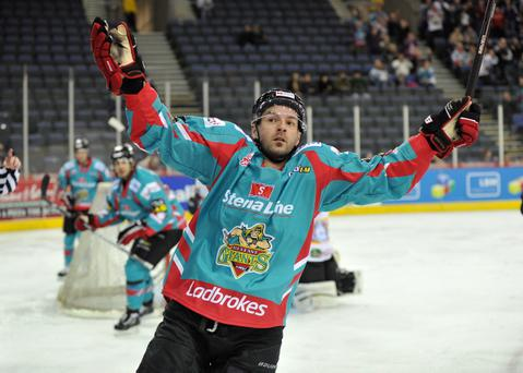 Colin Shields celebrates after scoring the Giants' first goal against Fife