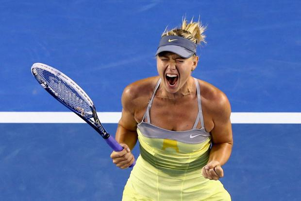 MELBOURNE, AUSTRALIA - JANUARY 18: Maria Sharapova of Russia celebrates winning her third round match against Venus Williams of the United States during day five of the 2013 Australian Open at Melbourne Park on January 18, 2013 in Melbourne, Australia. (Photo by Ryan Pierse/Getty Images)