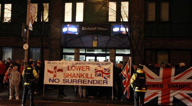 Loyalists protest outside the BBC's Blackstaff House on Great Victoria Street where the Stephen Nolan TV show was taking place.