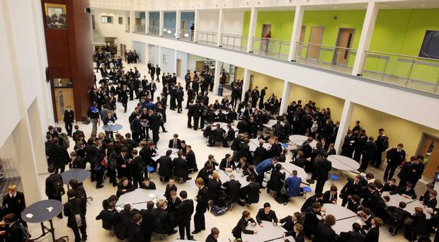 The new atrium at Bangor Grammar School which acts as a foyer, dinning area and social area.