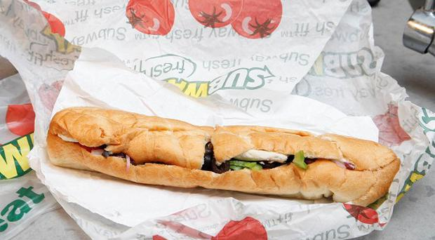 A chicken breast sandwich from Subway on a kitchen counter in New York (AP/Seth Wenig)