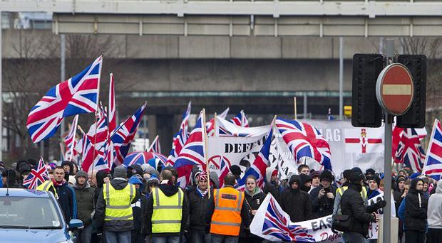 Loyalist protesters returning to East Belfast after a flag protest in Belfast city centre