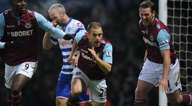 Joe Cole, centre, scored his first goal since returning to West Ham