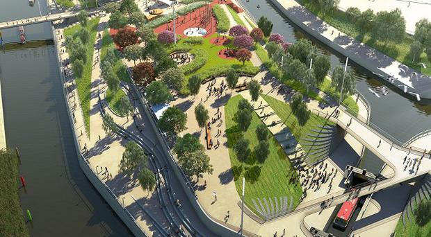 The South Park CGI, which is how the Olympic Park may look in spring 2014 when this area opens