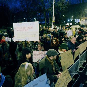 A small group of Pro-Choice protestors picket Pro-Life campaigners gathered in Merrion Square, Dublin