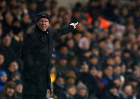 LONDON, ENGLAND - JANUARY 20: Manager Sir Alex Ferguson of Manchester United gestures during the Barclays Premier League match between Tottenham Hotspur and Manchester United at White Hart Lane on January 20, 2013 in London, England. (Photo by Clive Mason/Getty Images)