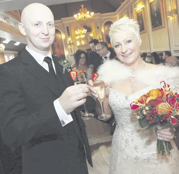 John Hoy and Karen Sheals had a winter wedding.