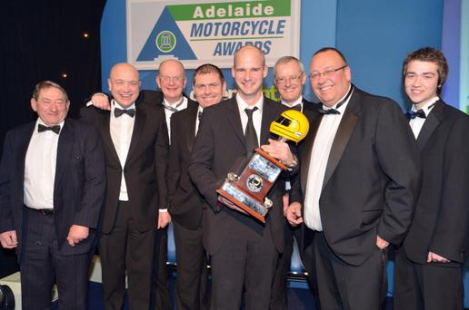 Ryan Farquhar is congratulated by the members oft he Enkalon Motorcycle Club after winning the Enkalon Irish Motorcyclist of the Year at the Adelaide Motorcycle Awards in Belfast