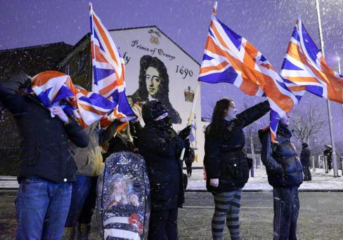 Loyalists take part in a protest in Sandy Row, south Belfast