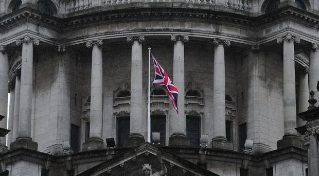 The Union flag flies at Belfast City Hall on Sunday to mark the 48th birthday of the Countess of Wessex