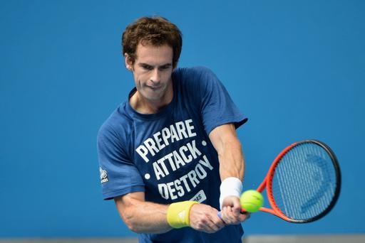MELBOURNE, AUSTRALIA - JANUARY 22: Andy Murray of Great Britain plays a backhand in a practice session during day nine of the 2013 Australian Open at Melbourne Park on January 22, 2013 in Melbourne, Australia. (Photo by Vince Caligiuri/Getty Images)